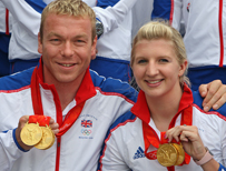 Chris Hoy and Rebecca Adlington with their gold medals