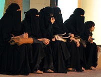 Row of Saudi women