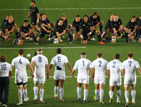 France advance during the haka