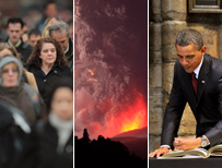 Crowd of commuters; volcano erupting; Obama signing visitors' book