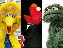 Big Bird, Elmo and Oscar
