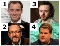 Jude Law, Kevin Spacey, Michael Sheen and James Corden