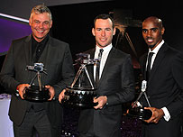 BBC Sports Personality of the Year runner-up Darren Clarke, winner Mark Cavendish and third-placed Mo Farah