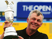 Darren Clarke lifts the Claret Jug as Open champion in 2011