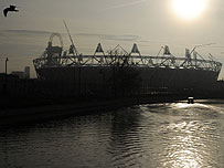 The Olympic Stadium overlooking the River Lea