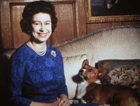 The Queen with a corgi in 1970