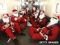 Skydiving santas