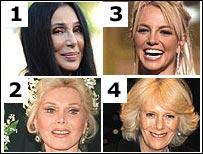 Cher, Britney Spears, Duchess of Cornwall, Zsa Zsa Gabor