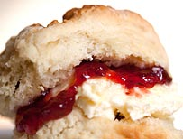 Scone with cream and jam