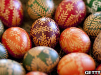 Brightly coloured Easter eggs.