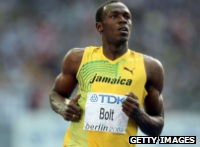 Usain Bolt running.