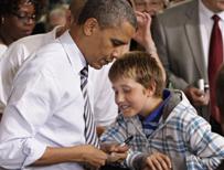 Barack Obama with 11-year-old Tyler Sullivan