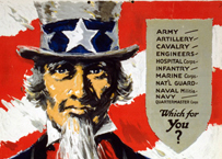 Uncle Sam, from a World War I-era recruiting poster
