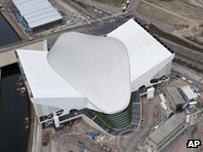 The Aquatics Centre from above.