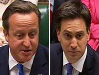 David Cameron and Ed Miliband at Prime Minister's Questions
