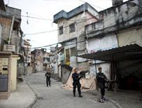 Brazilian police in a Rio favela