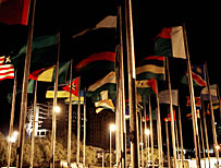 Flags at the African Union headquarters in Addis Ababa, Ethiopoia (AFP)