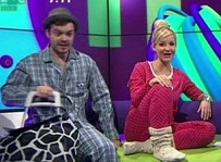 Blue Peter presenters in their pyjamas