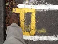 A double yellow line in Cambridge