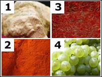 Truffle, paprika, saffron, grapes