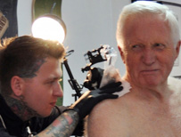 David Dimbleby getting a tattoo