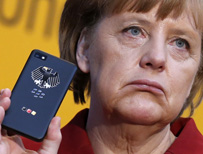 Angela Merkel with a phone