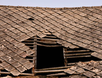 Roof with hole