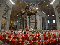 Cardinals at a mass in the Vatican