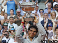 Nadal holding the French Open trophy