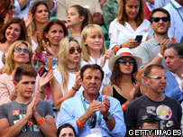 Nadal's family sitting in stand