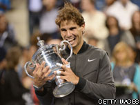 Nadal holding the US Open trophy