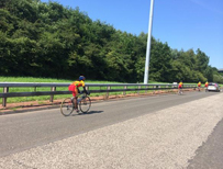 Sri Lankan cyclists on the M74