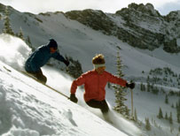 Skiiers in deep snow at Alta ski area