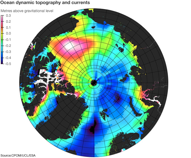 Map showing ocean dynamic topography - the height in metres of the water surface above the gravitational level in the Arctic