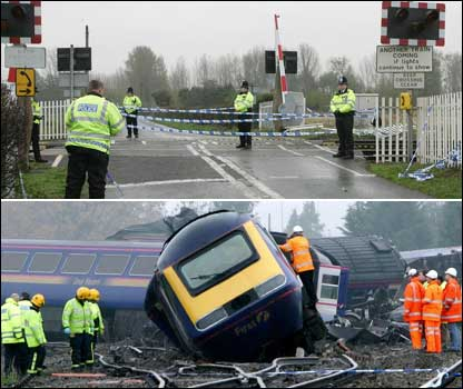 Image 1 - Police cordon off the level crossing. Image 2 - Police making a search of the wreckage.