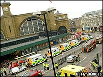 King's Cross station with many ambulances outside