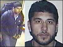CCTV image and photograph of Hasib Hussain, the 18-year-old accused of carrying out the bus bombing