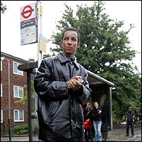 Mr Menezes' cousin, Alex Pereira, at the bus stop in Tulse Hill where he caught a bus to Stockwell