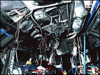 Wrecked interior of bombed Piccadilly line train. Picture: ABC News