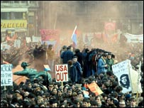 an anti-Vietnam demonstration in Grosvenor Square.