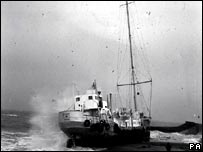 a ship at sea