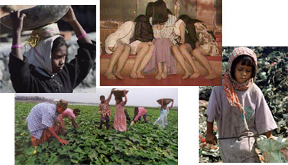 Four pictures of child labourers in different parts of the world