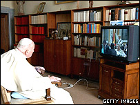 John Paul watches Easter Sunday Mass on tv, days before his death