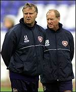 Hearts manager Jim Jefferies and assistant Billy Brown