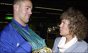 Gold medallist swimmer David Roberts meets Kate Hoey