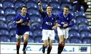 Captain Barry Ferguson celebrates his goal