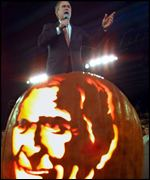 Bush campaigning in Bellevue, Washington state with pumpkin
