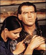 Brosnan with co-star Annie Galipeau
