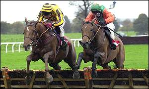 Charlie Swan on Boss Doyle (right) catches Mick Fitzgerald's Earthmover at Wetherby on 28 October