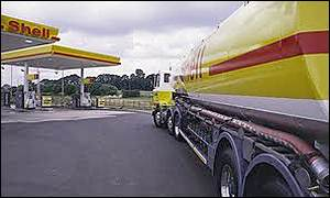 A Shell tanker arrives at a petrol station
